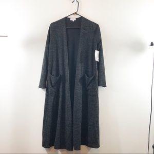 NWT Lularoe Black/Gray Sarah Cardigan Sweater S